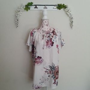 Tops - Floral Tie Front Keyhole Short Sleeve Blouse Top